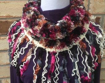 Handmade Multi Colored Scarf Cowl Fringe Knit Infinity Neckwarmer Variegated Jewel Tones Boho Shawl Scarf Boa Yarn Chunky Knits Ship Now