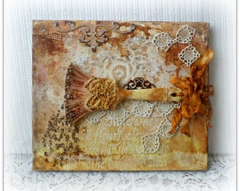 Mixed media canvas picture , mixed media altered canvas , 3D mixed media picture , wall picture