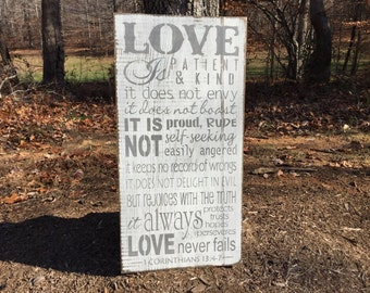 Allison Miller Design Love is patient sign, wedding sign, hand painted wood sign, Wedding gift, Wall Decor, Love Sign, I Corinthians 13:4-7