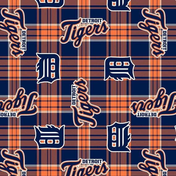 detroit tigers baseball plaid anti pill polar fleece plush. Black Bedroom Furniture Sets. Home Design Ideas