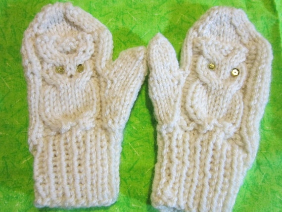 Owl Mittens Knitting Pattern : Mittens pattern pdf Knitted Owl Mittens. 3 sizes for Children