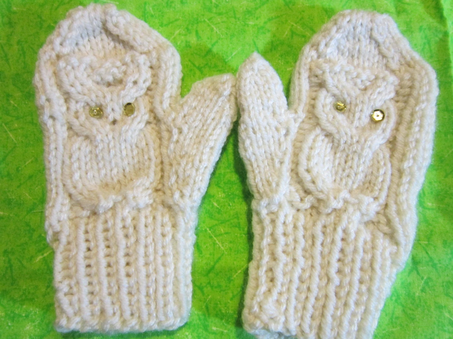 Mittens pattern pdf Knitted Owl Mittens. 3 sizes for Children