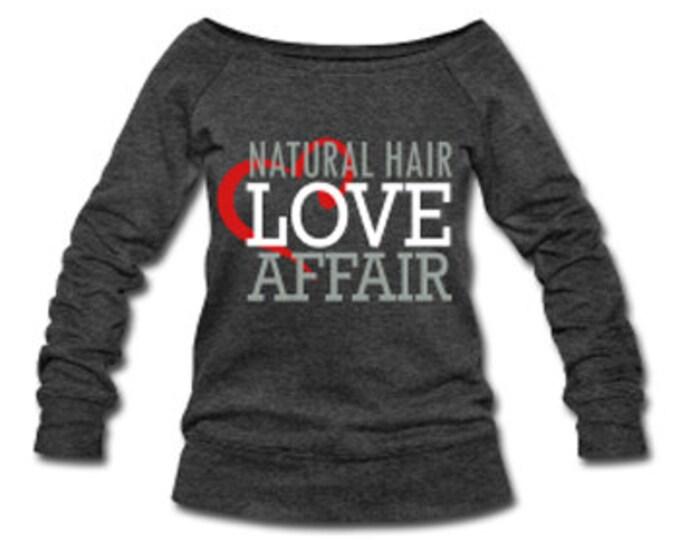 Natural Hair Love Affair Velvet Lettering Slouchy Wideneck Women's Sweatshirt - Dark Gray