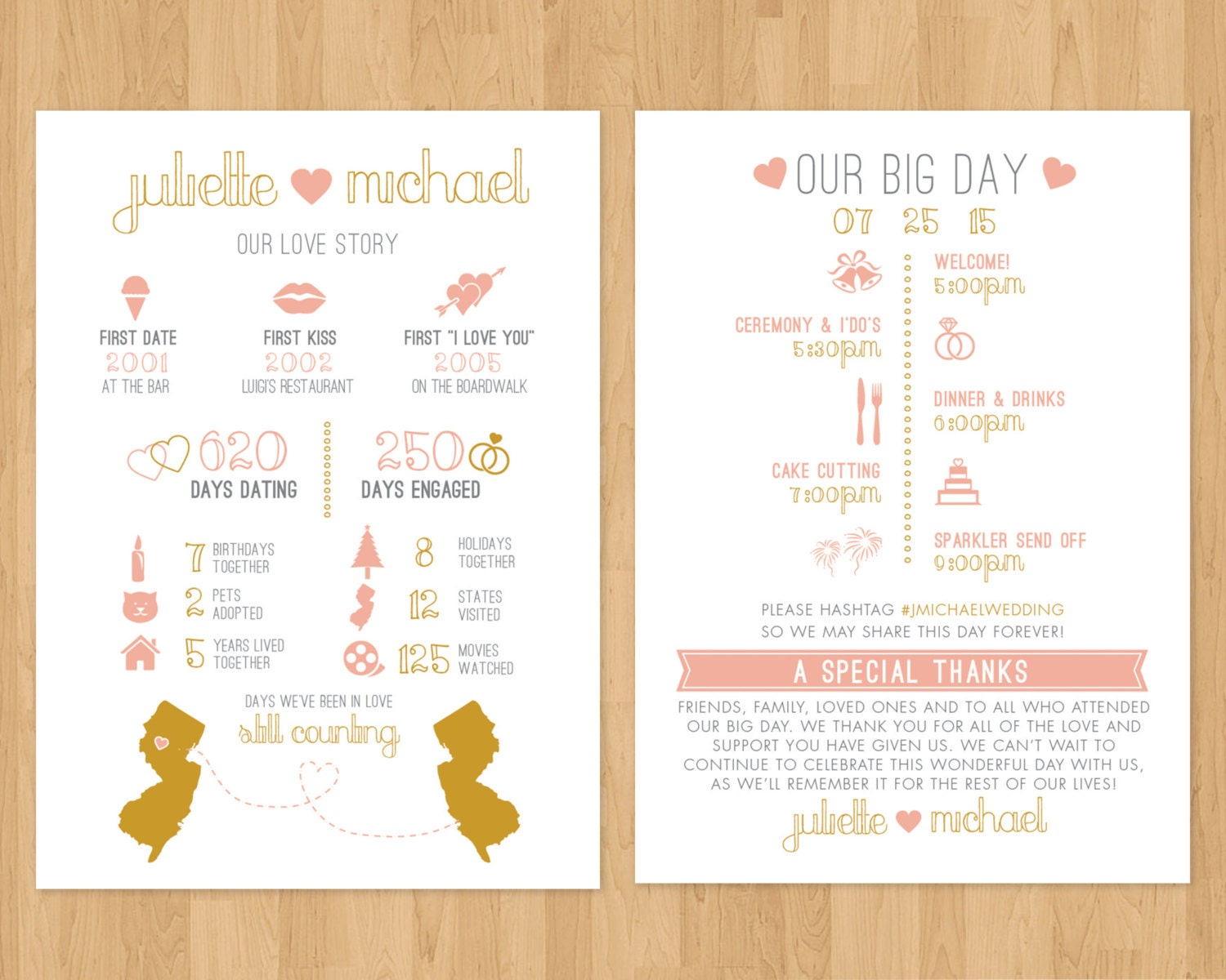 Request a custom order and have something made just for you for Wedding program info