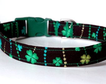 "Handmade Black St. Patrick's Day Dog Collar w Green Clover Design ""New"""