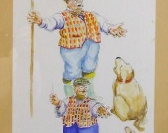 Original watercolour Peter Atkins cartoon painting art Singing humour performing art singing dog framed art Worldwide gift delivery