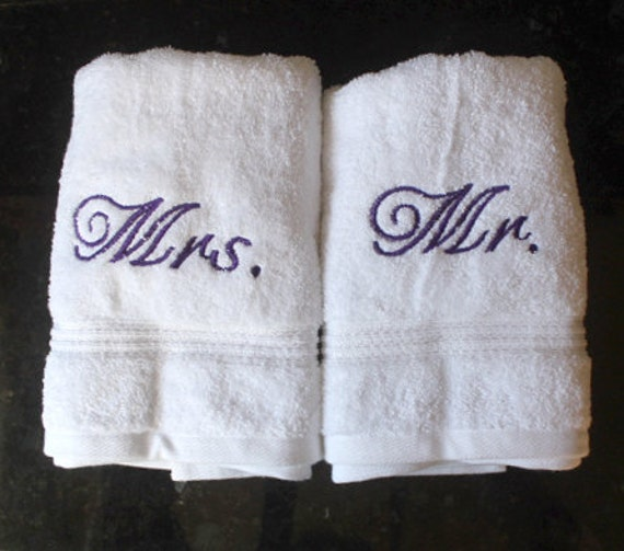 Wedding Shower Gift Ideas For Gay Couple : ... hers, bridal shower present, embroidered hand towel, gay couple gift