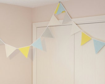 Nursery bunting baby shower banner in yellow, grey, aqua blue and white - Customise your bunting pastel colours