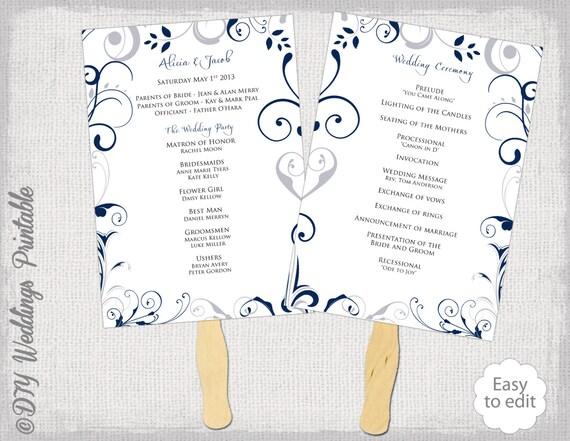 Wedding Program Fan Template Scroll Navy Silver Gray DIY Order Of Ceremony Printable Blue Programs Download