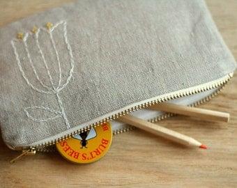 small linen zipper pouch - bell blossom