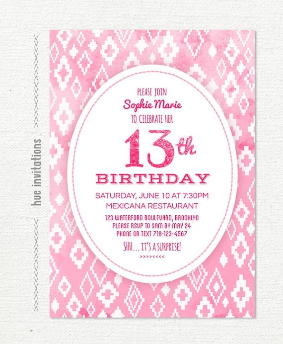 Ähnliche Artikel wie 13. Geburtstag-Einladung für Mädchen, Stammes ...