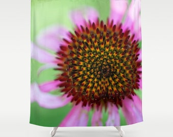 shower curtains purple and green macro photography wild cone flower bright colors