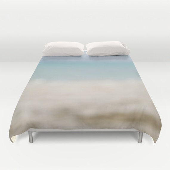 Duvet Cover, Abstract Image, Ocean Photography, Blue Landscape, Bedroom Design, Beach Themed Bedding, Blue and White, Interior Design
