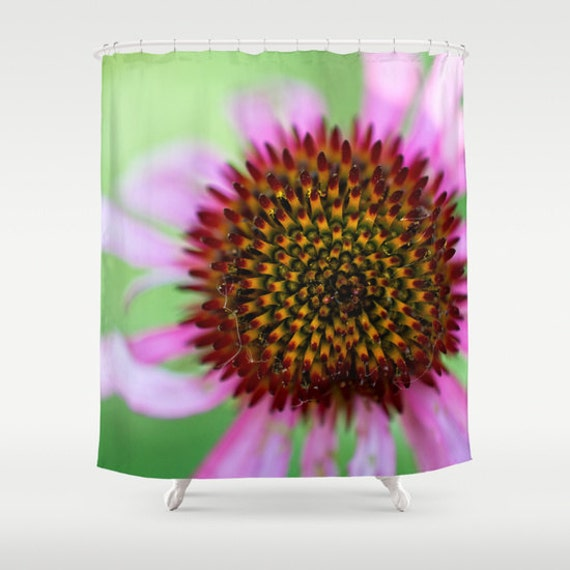 Shower Curtains, Purple and Green, Macro Photography, Wild Cone Flower, Bright Colors, Bathroom Decor, Bath Accessories, Housewarming Gift