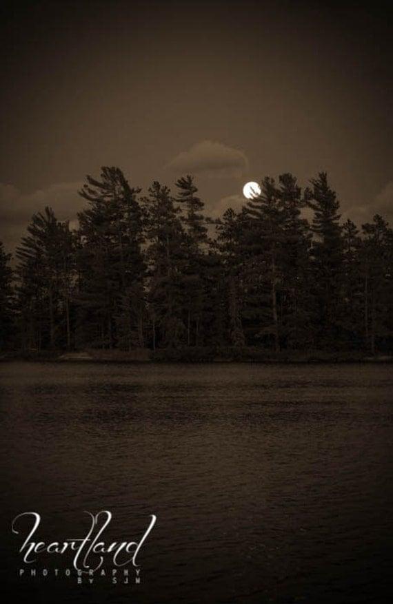 Nature Photography - Moon Rise Photography - Boundary Waters Photography - Sepia Photography - Nature Print - Nature Wall Art - BWCA