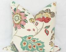 Red & teal floral decorative throw pillow cover. 18 x 18. 20 x 20. 22 x 22. 24 x 24. 26 x 26. lumbar sizes.