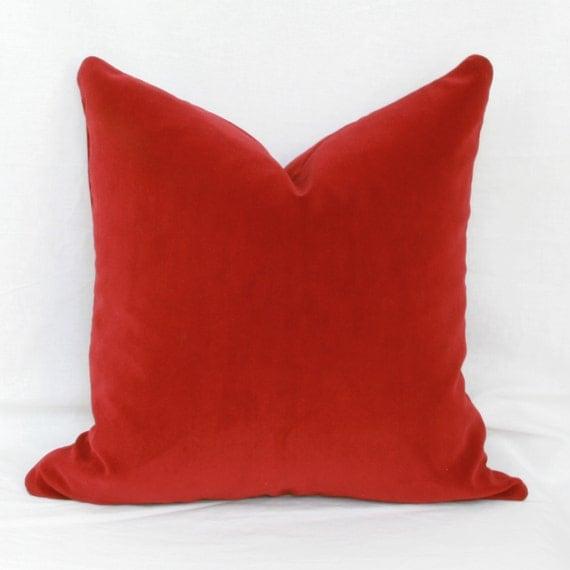 Cranberry red velvet decorative throw pillow cover. 18 x 18.