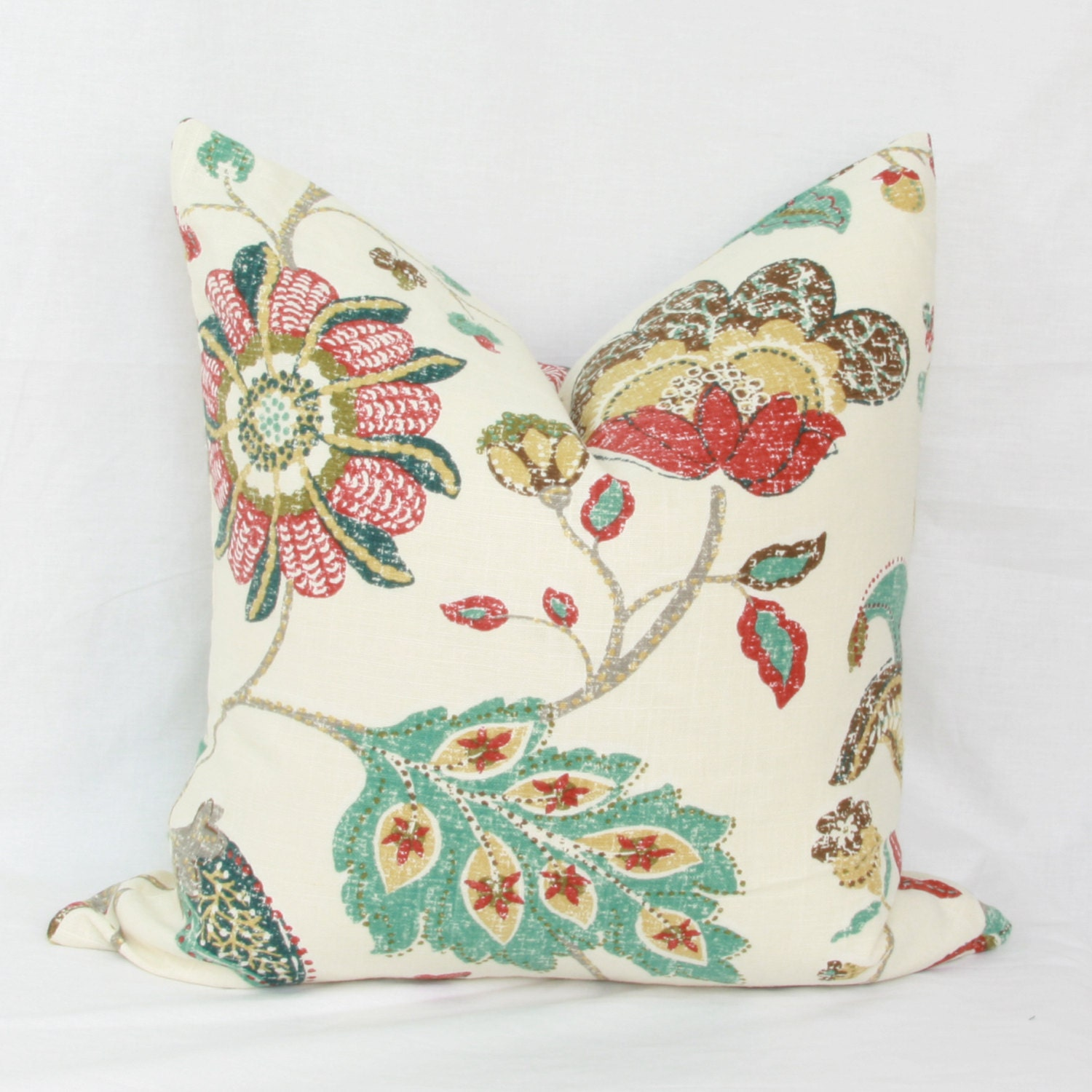 Red & teal floral decorative throw pillow cover. 18 x 18. 20 x