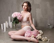Lace Camisole with Lace Brief F7(Lingerie Set), Bridal Lingerie, Wedding Lingerie, Honeymoon, Sleepwear,Wedding Trousseau