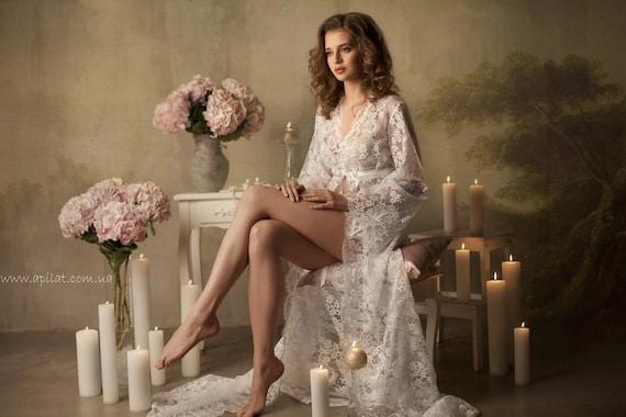 Long Lace Bridal Robe F3(Lingerie, Nightdress), White Lace Tie Front Nightgown (Honeymoon Sleepwear,Wedding Trousseau)