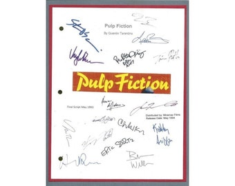Pulp Fiction Movie Script Signed Autographed Quentin Tarantino, Uma Thurman, John Travolta, Samuel L. Jackson, Christopher Walken