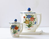 Vintage made in Japan Hirode orange and blue floral teapot, creamer, and tray set, cottage décor