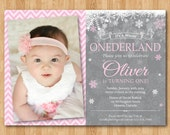 Winter Onederland Invitation. Boy or Girl Birthday Party. Snowflake bday. Blue or Pink. 1st first bday. Custom photo. Printable digital