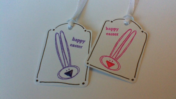 Happy easter gift tags craftbnb items similar to happy easter tags easter gift tags easter gift bag tags bunny tags easter negle Choice Image