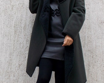 Military Green Winter Wool Coat / Wool Cloth Doubled with Fur TC31