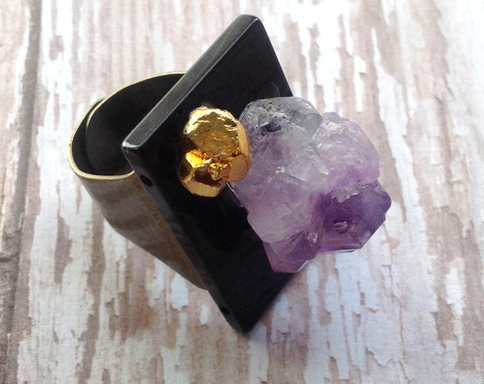 Handmade Stone Ring, ONYX, Amethyst, Boho, Crystal, Energy, Power, Tribal, Festival, Runway, Sexy, Unique, Celebrity (Rock Eye Candy Ring)
