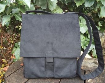 Black corduroy messenger bag