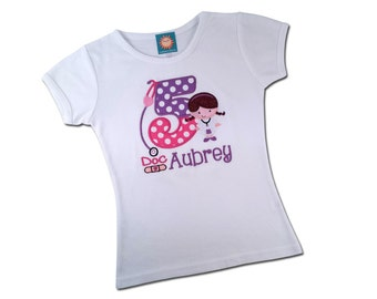 Girl's Cutie Doc Birthday Shirt with Embroidered Name