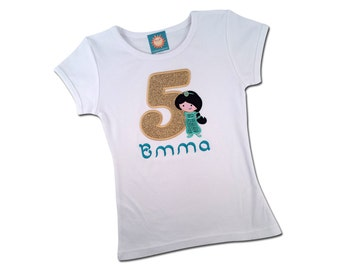 Girl's Jasmine Glitter Birthday Shirt with Number and Embroidered Name