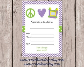 Instant Download Fill In Bounce Birthday Party Invite. Fill in Invitations.  Peace Love Bounce Invitation.  Purple Chevron Bounce Invite.