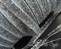 "Silver Glitter Elastic 3/8"", you choose yards, wholesale, glitter, headbands, elastic, ribbon"