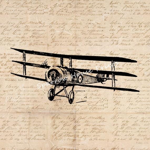 Vintage Airplane Print Wall Art Triplane Home Decor ...