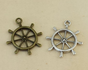 10 pcs 25mm Antique Bronze Rudder Charm, Antique Silver Rudder Pendant ABT002