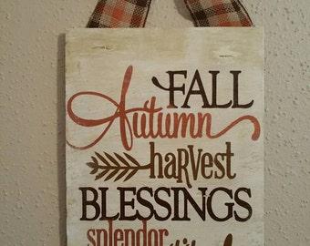 Handpainted  Fall Wood Sign