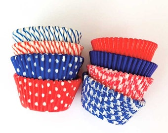 Yankee Doodle Cupcake Liners (100), Red White Blue Decor, Patriotic Cupcakes, 4th of July Decor, Americana Cupcakes, Olympics Cupcakes USA