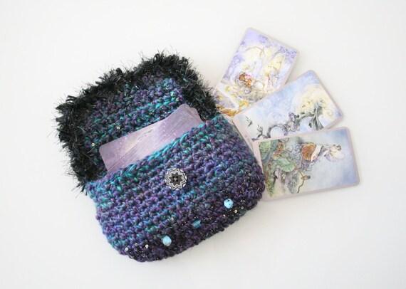 Knit Pattern Tarot Bag : Tarot Card Bag Handmade Crochet Tarot Bag Star Tarot Bag Blue