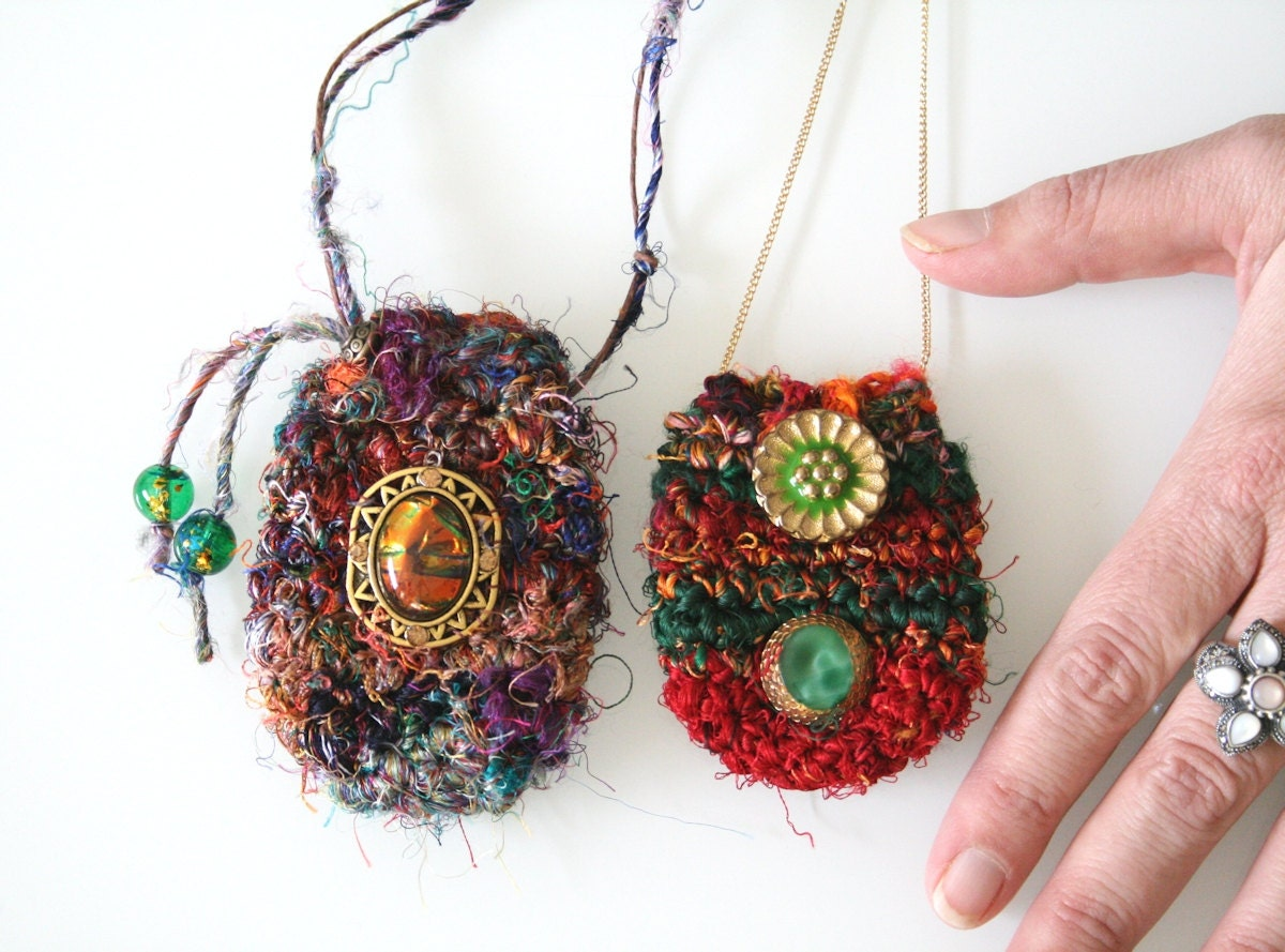 Crochet Pouch Necklace Handmade Silk Amulet Festival Bag
