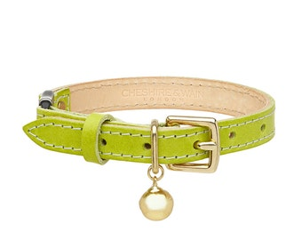 Green Leather Cat Collar with Breakaway Buckle