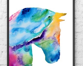 Watercolor print, watercolor horse art, animals art, giclee art print, home decor - 348