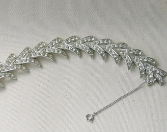 Sarah Coventry  Clear Rhinestone Silver Geometric Bracelet