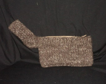 Hand Knit Brown Felted Wristlet