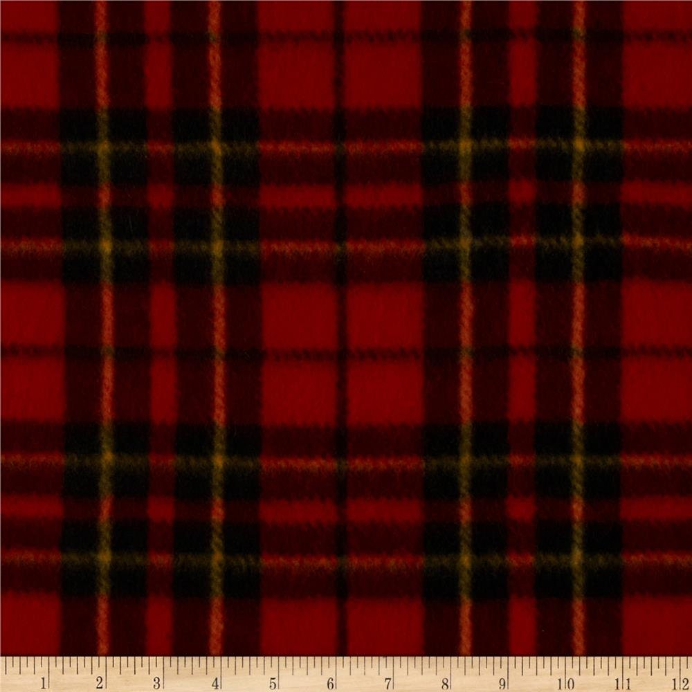 red plaid fleece fabric by the yard by reneeschoicefabrics on etsy. Black Bedroom Furniture Sets. Home Design Ideas