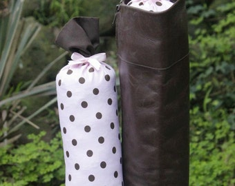 Pair of Boot Form Boot Trees - Knee High Pink with Brown Polka Dots with Cedar Fill
