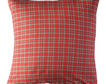 Scottish Pillow cover in Red color.