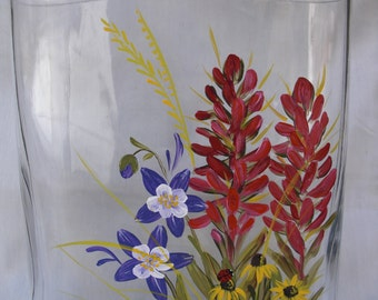 Hand Painted Vase with Indian Paint Brush