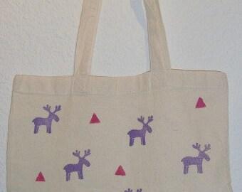 Hand painted Christmas tote bag
